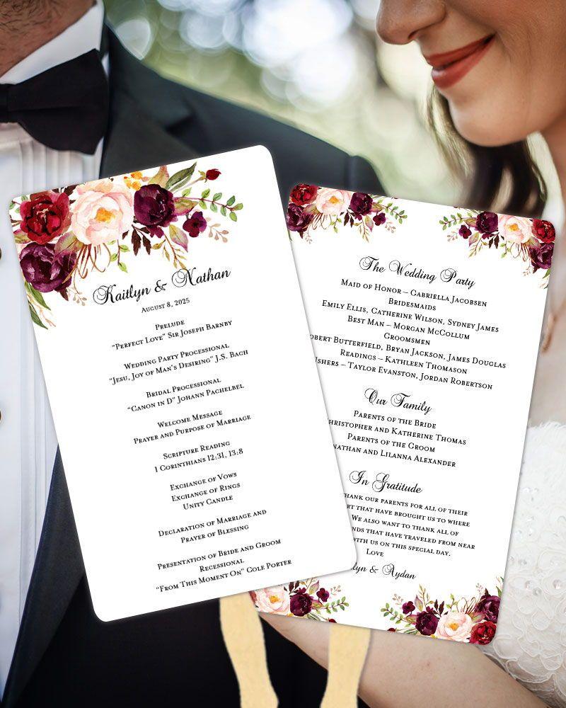Cheap Print Your Own Wedding Invitations: Wedding Program Fan Romantic Blossoms Burgundy, Red, Blush