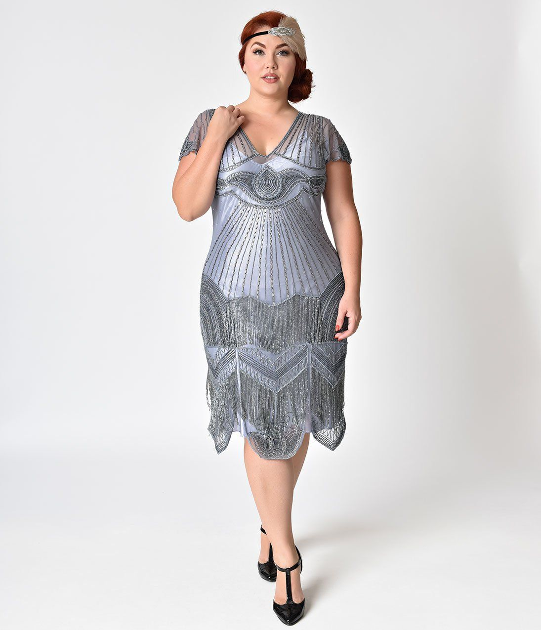 54a412a05dd 1920s Style Plus Size Lilac Beaded Deco Cap Sleeve Beatrice Flapper Dress