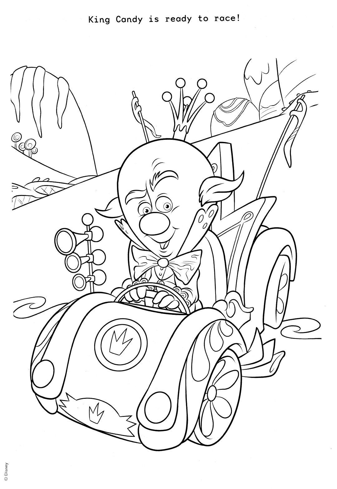 king candy coloring page wreck it ralph kolorowanki pinterest