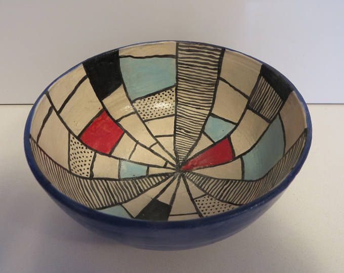 Blue bowl, October birthday, pottery gift, Salad bowl, Hand painted pottery, Ceramic bowl, Kitchen pottery, Thrown pottery, lines designs