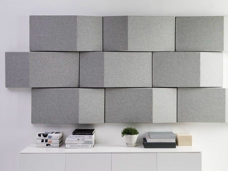 Download the catalogue and request prices of acoustic fabric wall tiles Triline wall, design Anya Sebton to manufacturer Abstracta