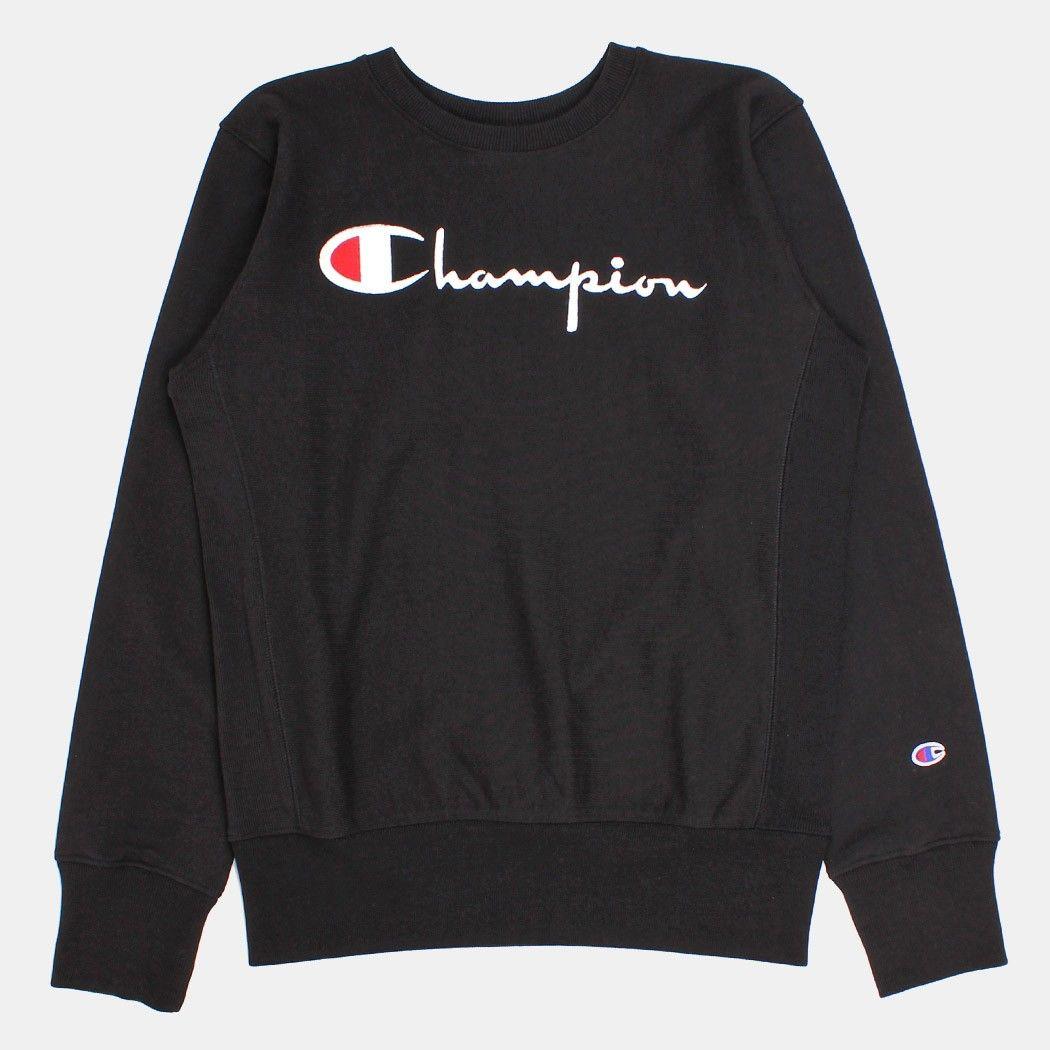 0ad54cd90 Champion Script Applique Crewneck Sweatshirt - Black | Style in 2019 ...