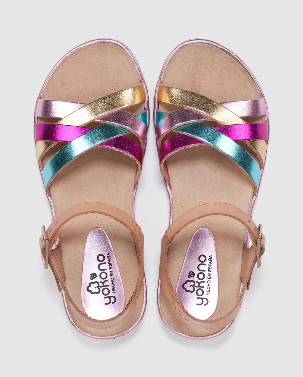 Metalizada RosaNiños Niña Piel Color Yokono Sandalias De f7yYgb6v