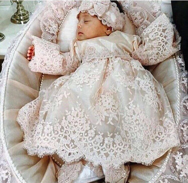 Bonnet Infant Baby Girl Wedding Baptism Christening Easter Gown Flower Dress