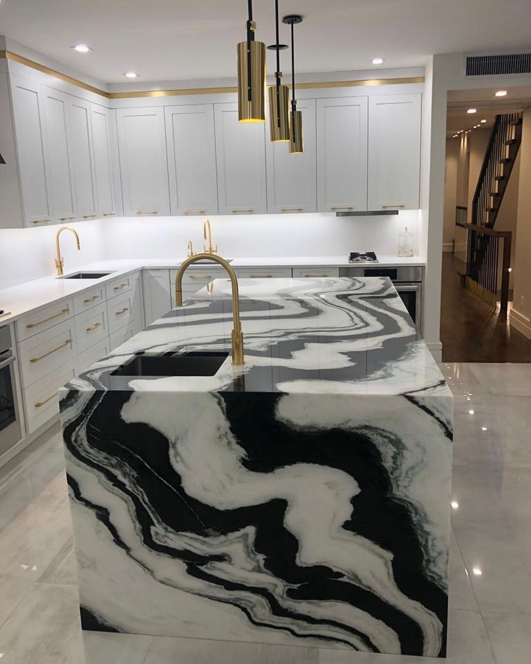 Royal Marble Installers On Instagram All Sides Of This Panda Marble Countor Tops Islan In 2020 Dream House Decor Waterfall Island Kitchen Marble Kitchen Island