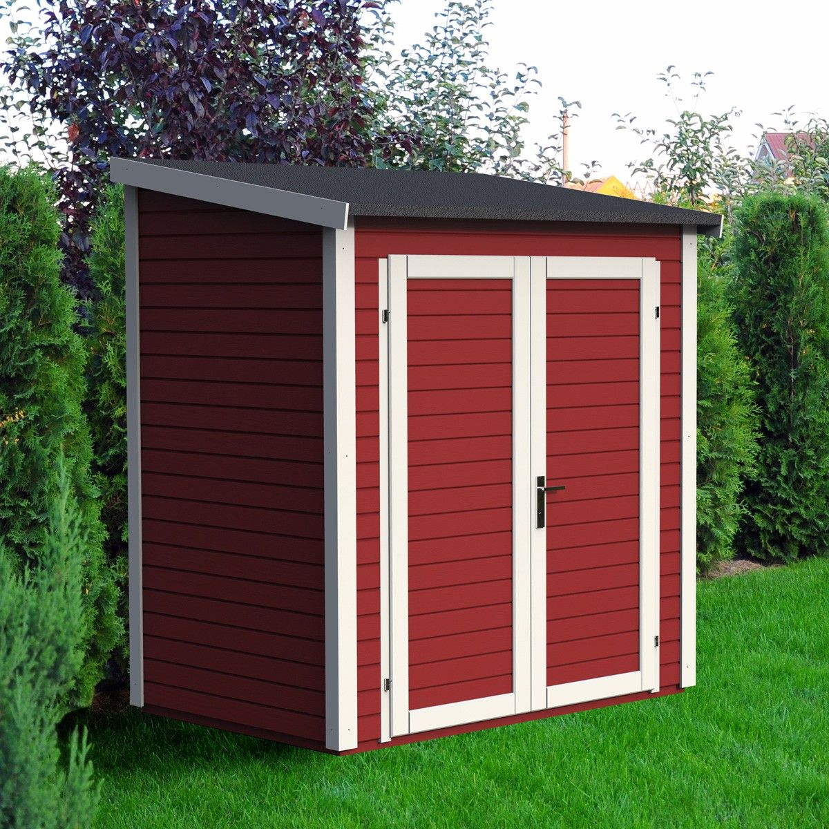 free abri de jardin skur x x coloris rouge lekingstore prix with abri de jardin 1 pente adossable. Black Bedroom Furniture Sets. Home Design Ideas