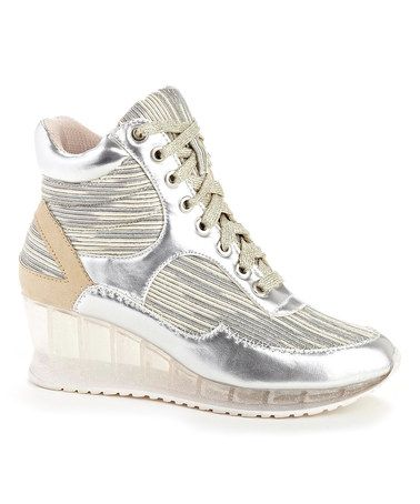 Loving this Silver Walker Wedge Hi-Top Sneaker on #zulily! #zulilyfinds