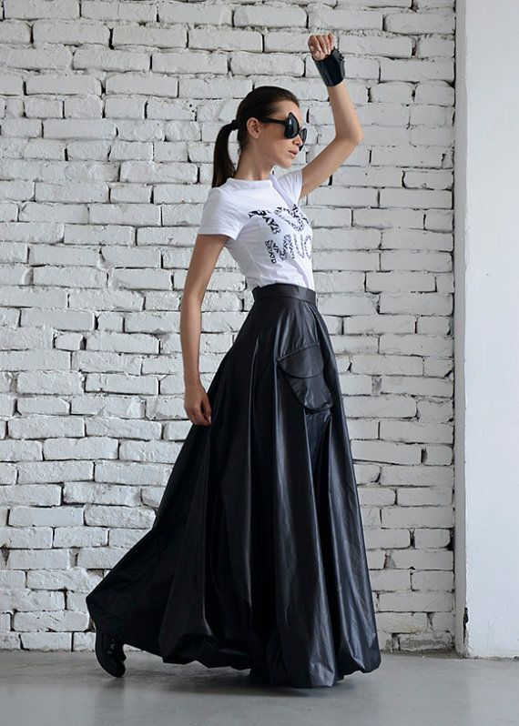 cheap for discount 90836 1cc58 Maxi gonna nera/lungo gonna Casual/Oversize lunga gonna/High ...