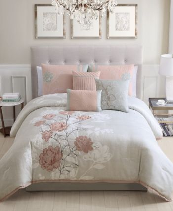 Brissa 7 Pc King Comforter Set Created For Macy S Blush Grey Queen Comforter Sets Bedroom Decor Bedroom Design