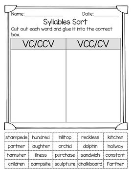 syllable patterns c le vcccv and cvvc no prep worksheets project read syllable words. Black Bedroom Furniture Sets. Home Design Ideas
