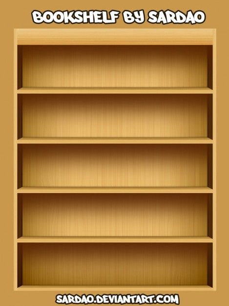 Wooden Book Shelf Illustration PSD Template