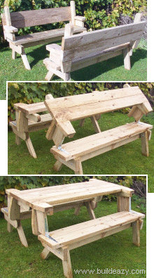 how to make a folding picnic table which turns into a garden bench rh pinterest it