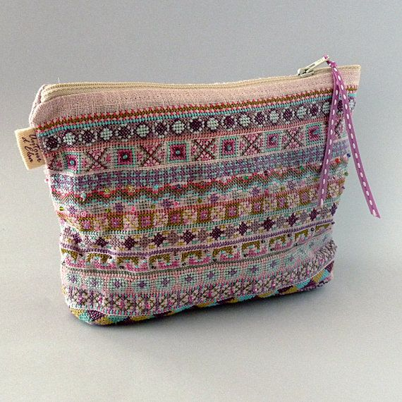 Embroidered Makeup Bag / Bohemian Style Geometric by bleuluciole