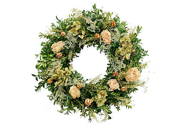 "20"" Lacey Peony Wreath on OneKingsLane.com"
