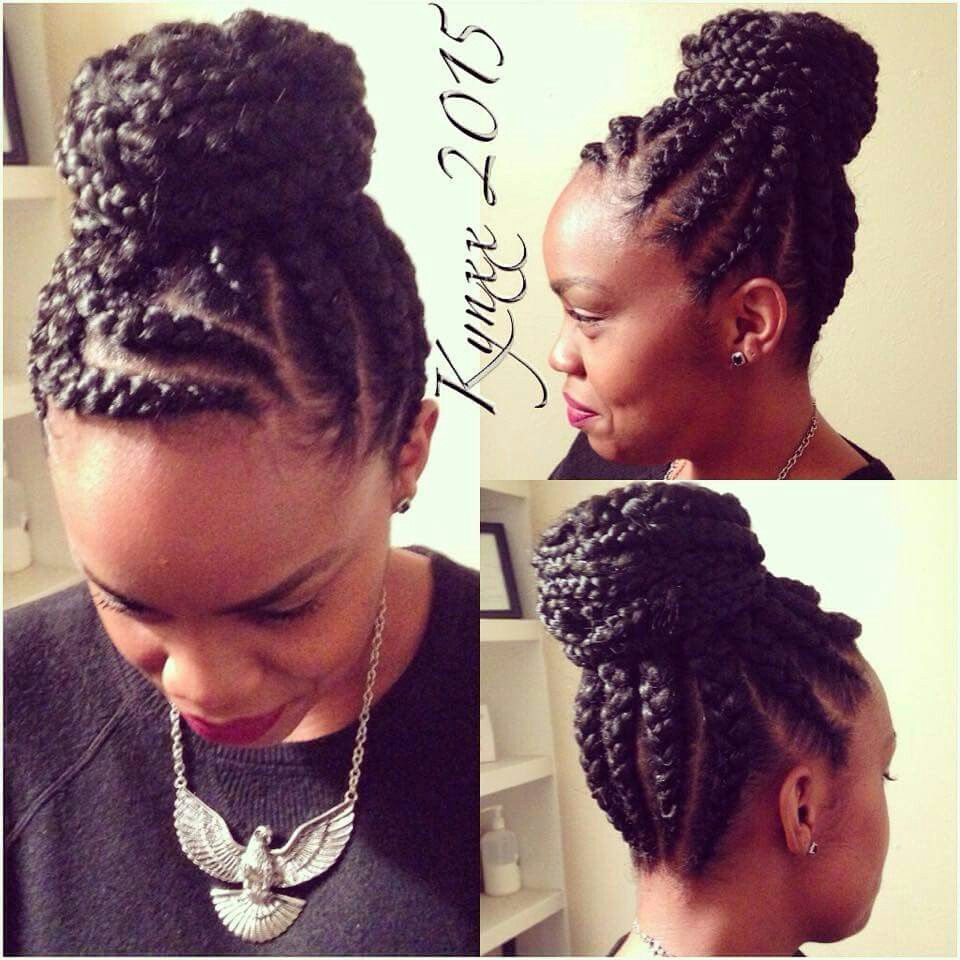 Jumbo Braid Bun Hair Styles Box Braids Hairstyles Natural Hair Styles