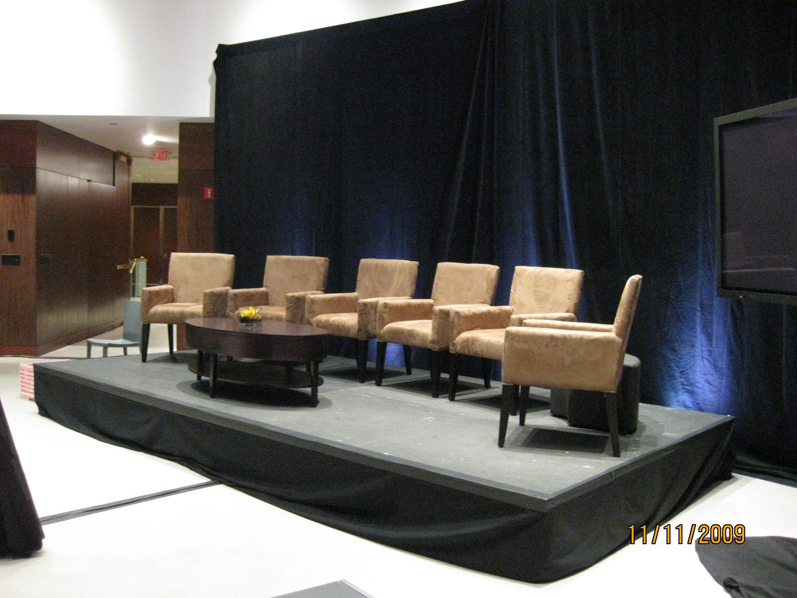 Beau Chamois Stage Chairs With Harmony Cocktail Table