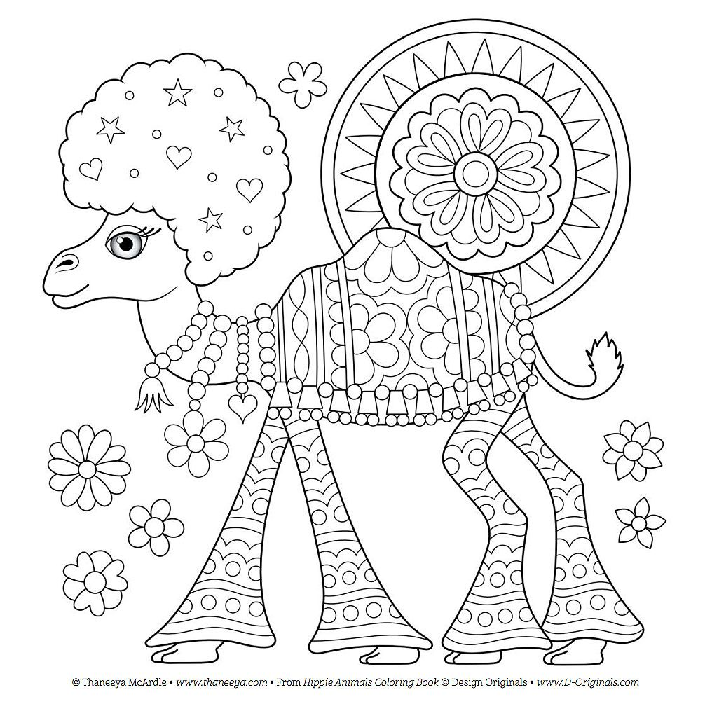 Free Hippie Camel Coloring Page By Thaneeya McArdle