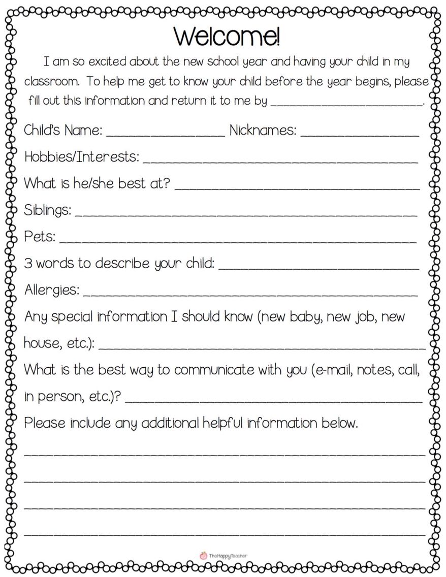 Parent Meet And Greet Info Sheet Supporting Parents Pinterest