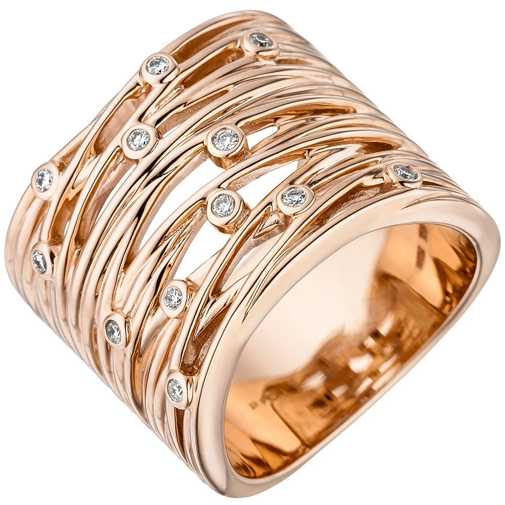 Damen Ring breit 585 Gold Rotgold 12 Diamanten Brillanten 0 14ct