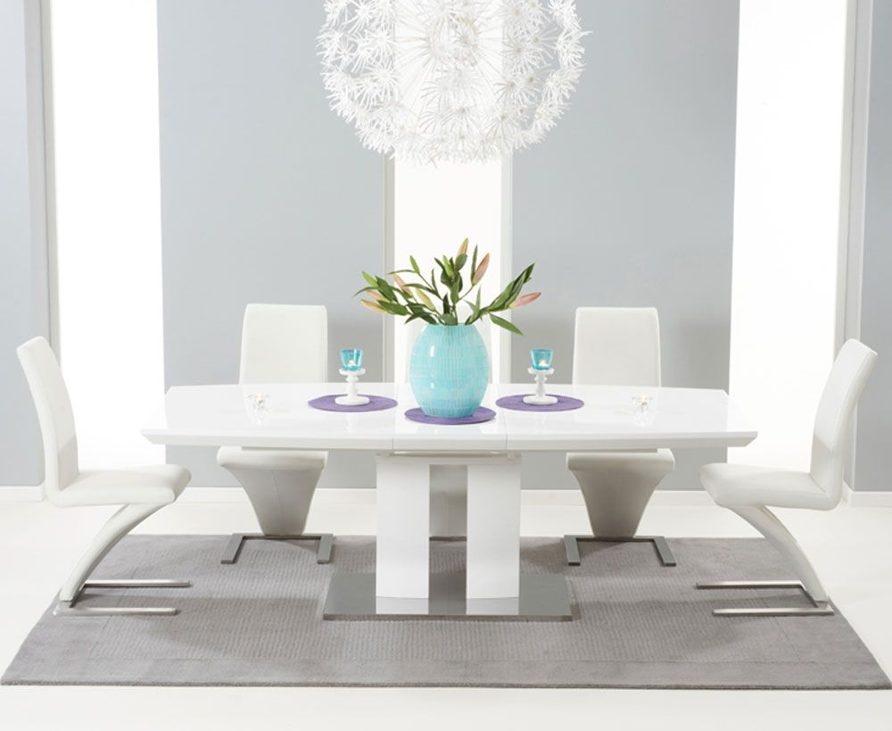 Gloss stowaway dining table and chairs at oak furniture superstore - Buy Rossini White High Gloss Extending Dining Set With 6 White Hereford Chairs Online Cfs Uk