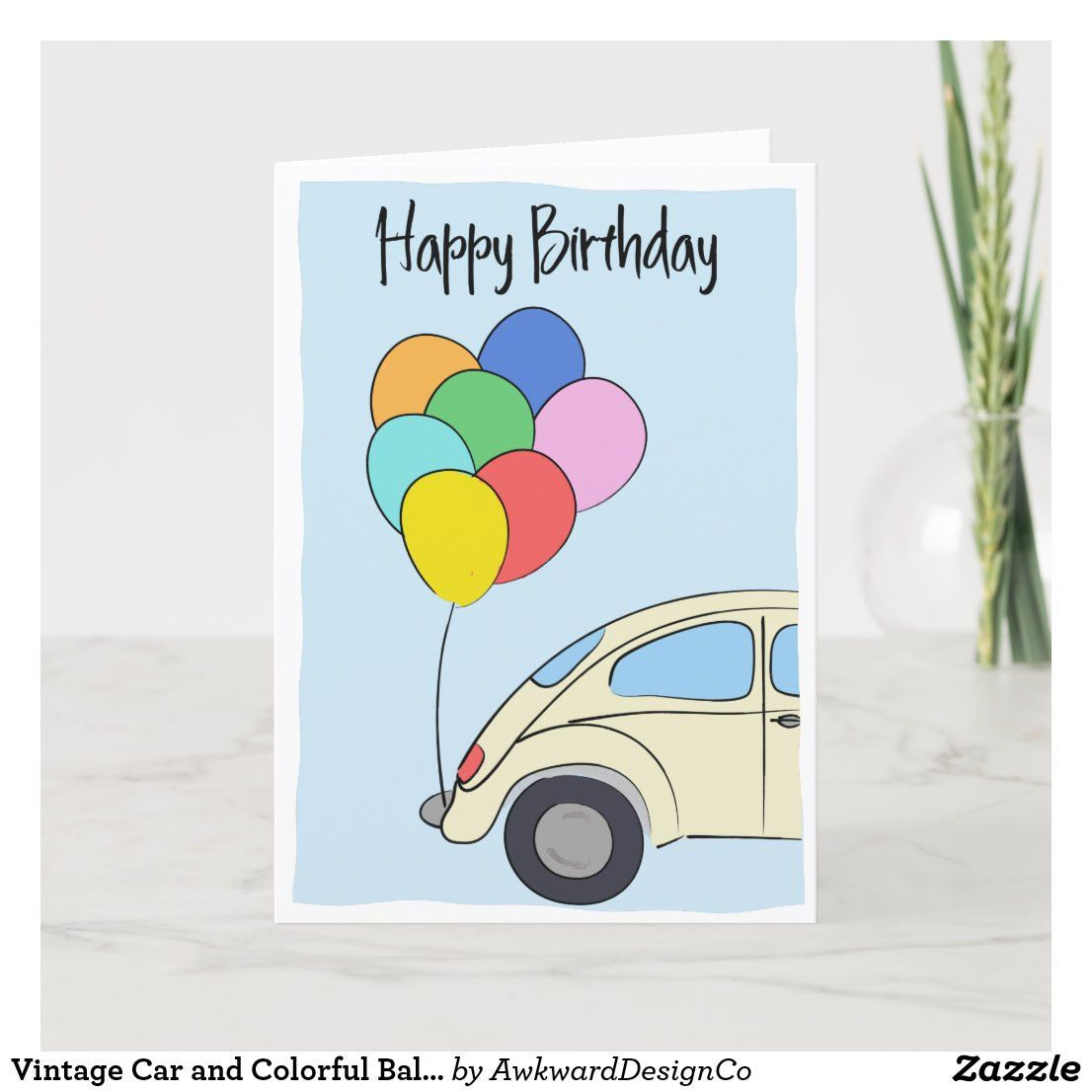 Vintage Car And Colorful Balloons Drawing Birthday Card Zazzle Com In 2021 Birthday Card Drawing Birthday Cards Card Drawing