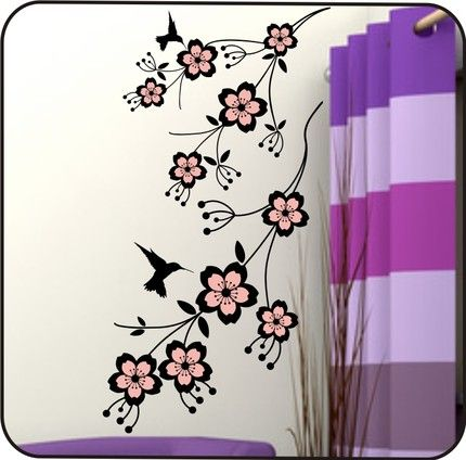 """This Cherry Blossom tree branch decal is 41"""" tall by 22"""" wide (custom sizing is available upon request) and has the feel and look of an elegant garden right in your own home. This contemporary design"""