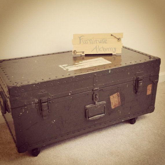 Military Trunk Coffee Table With Caster Wheels  Industrial Furniture, Made  To Order On Etsy, $180.00