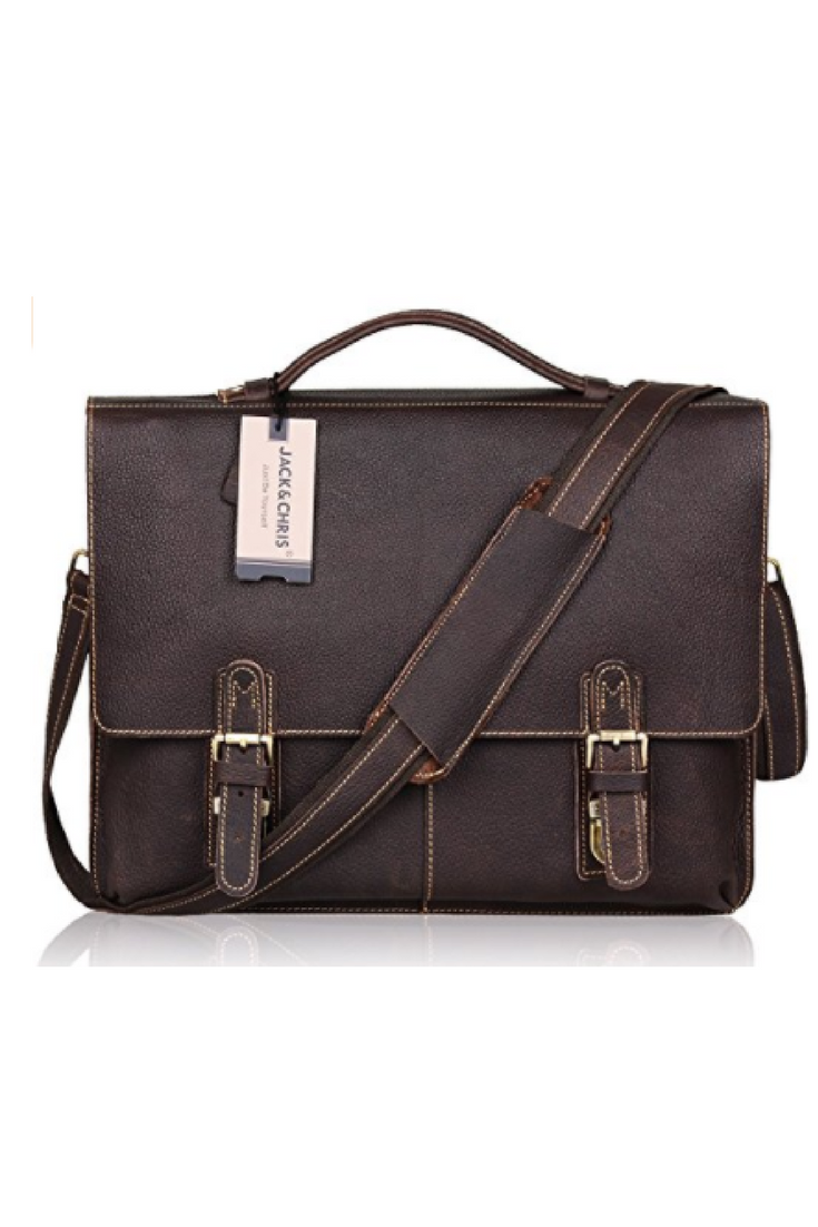 Leather Briefcase Twin Buckle Men S Messenger Bag Dark Brown Messenger Bag Men Messenger Bag Bags