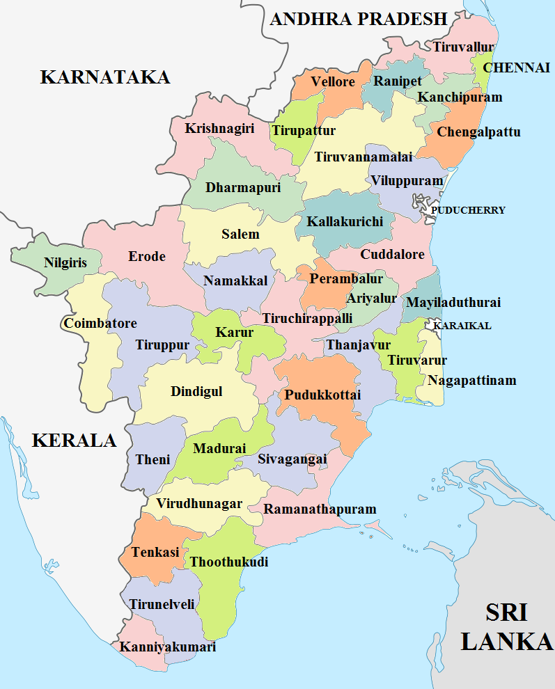 Tamil Nadu District Map Tamil Nadu Wikipedia In 2021 Map India World Map India Map