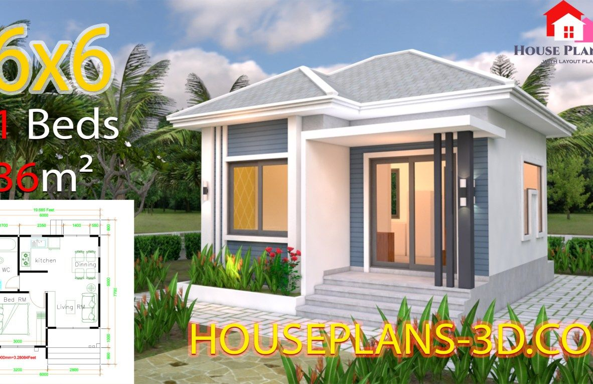 3 Bedrooms Home Plan 8x8m Samphoas Plan Small House Design Plans House Plans Flat Roof House