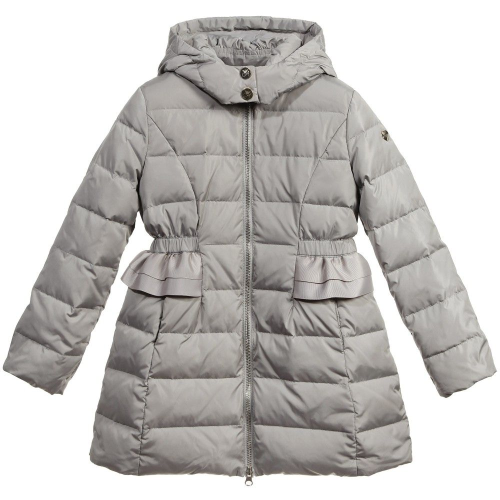 Girls Grey Down Padded Coat | Coats, Girls and Grey