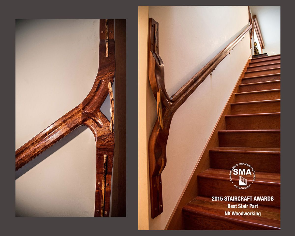 2015 Best Stair Part - Sculptural handrail design by NK Woodworking made with mixed exotic and local hardwoods.