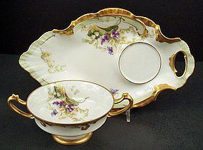 Unique Antique Limoges Dessert Cup & Tray