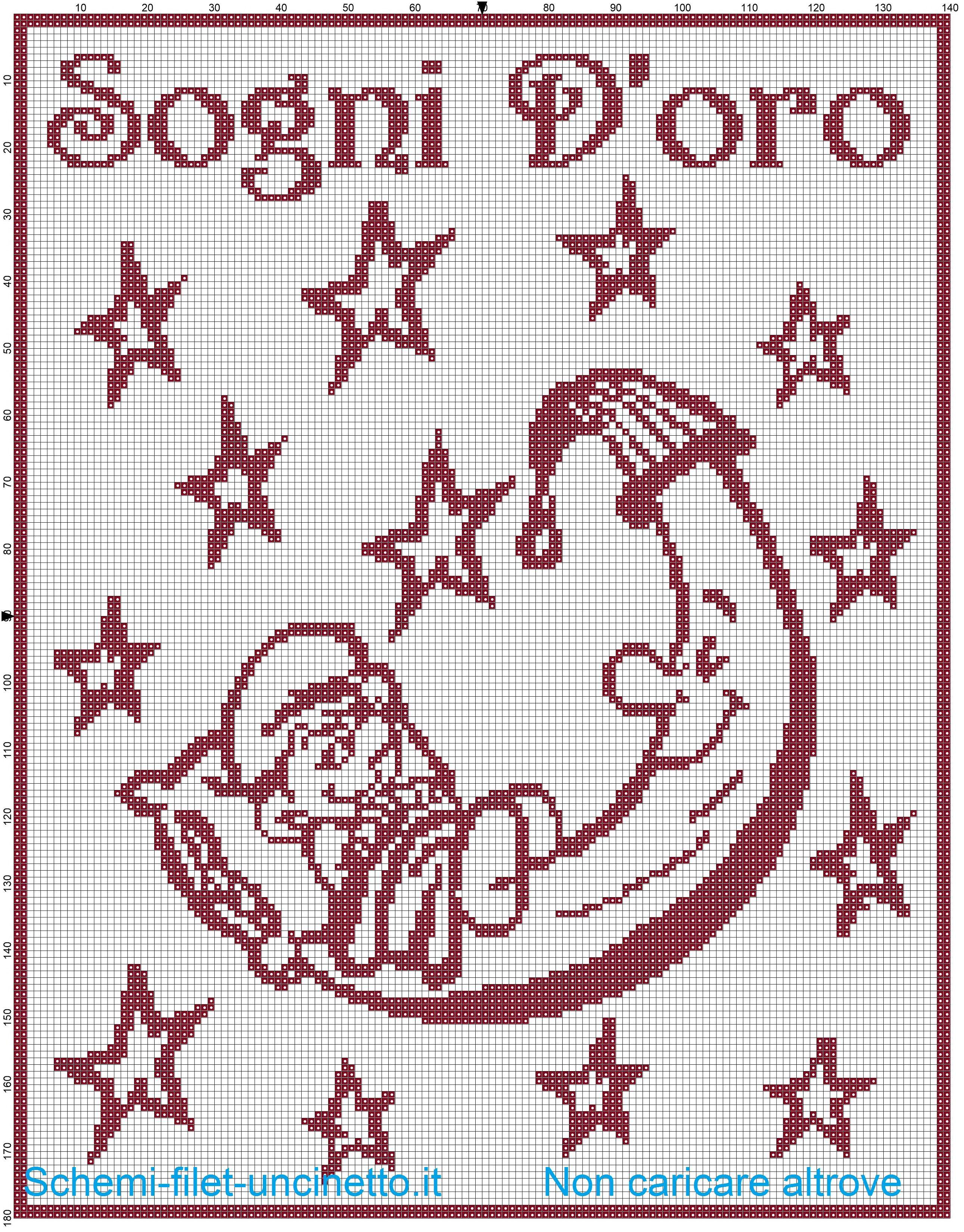 Copertina con baby Puffo sulla luna schema filet uncinetto ...
