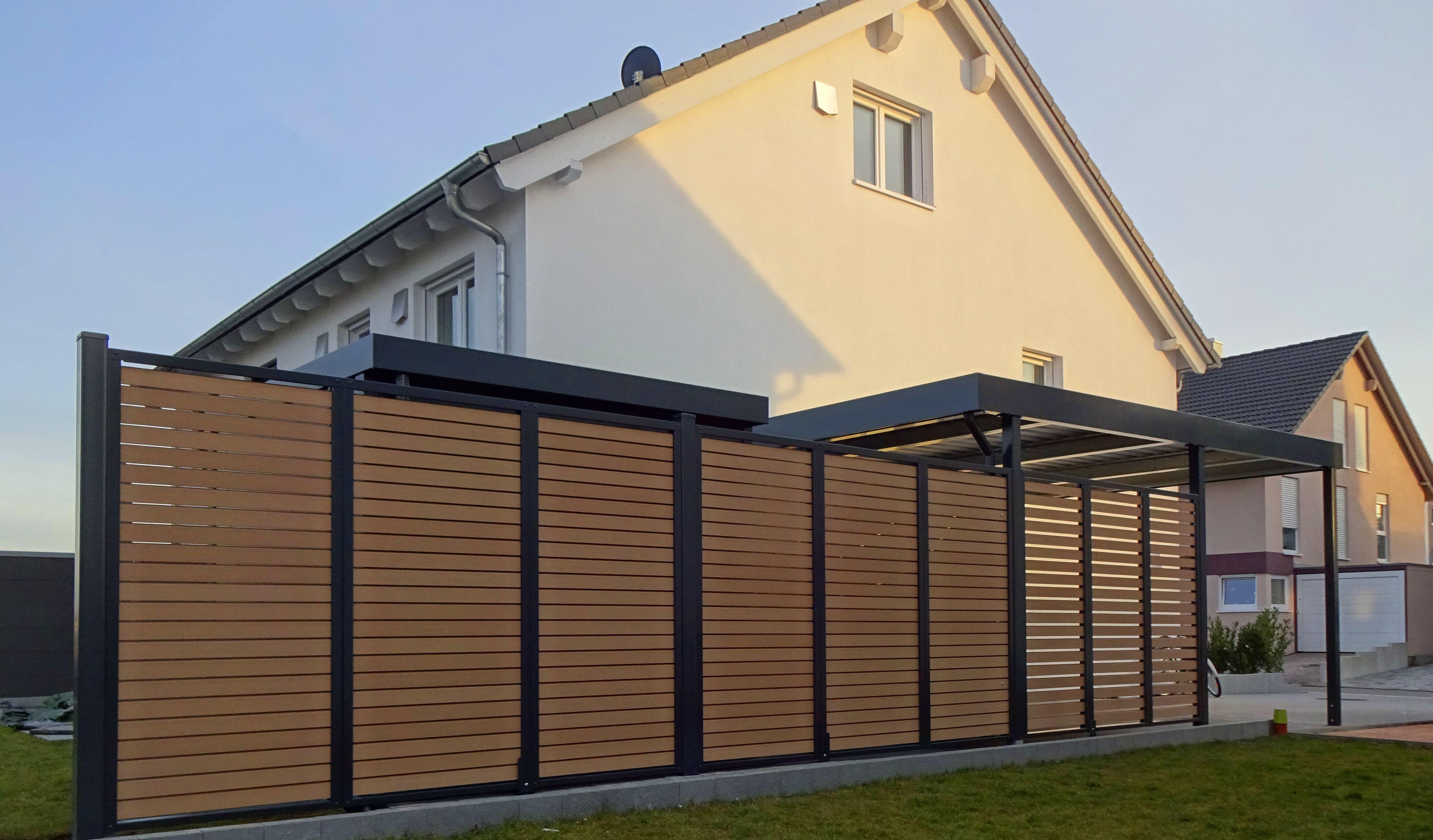 Myport Sichtschutz Aus Stahl Mit Wpc Fullung Wpc Holz Carport Carport Stahl