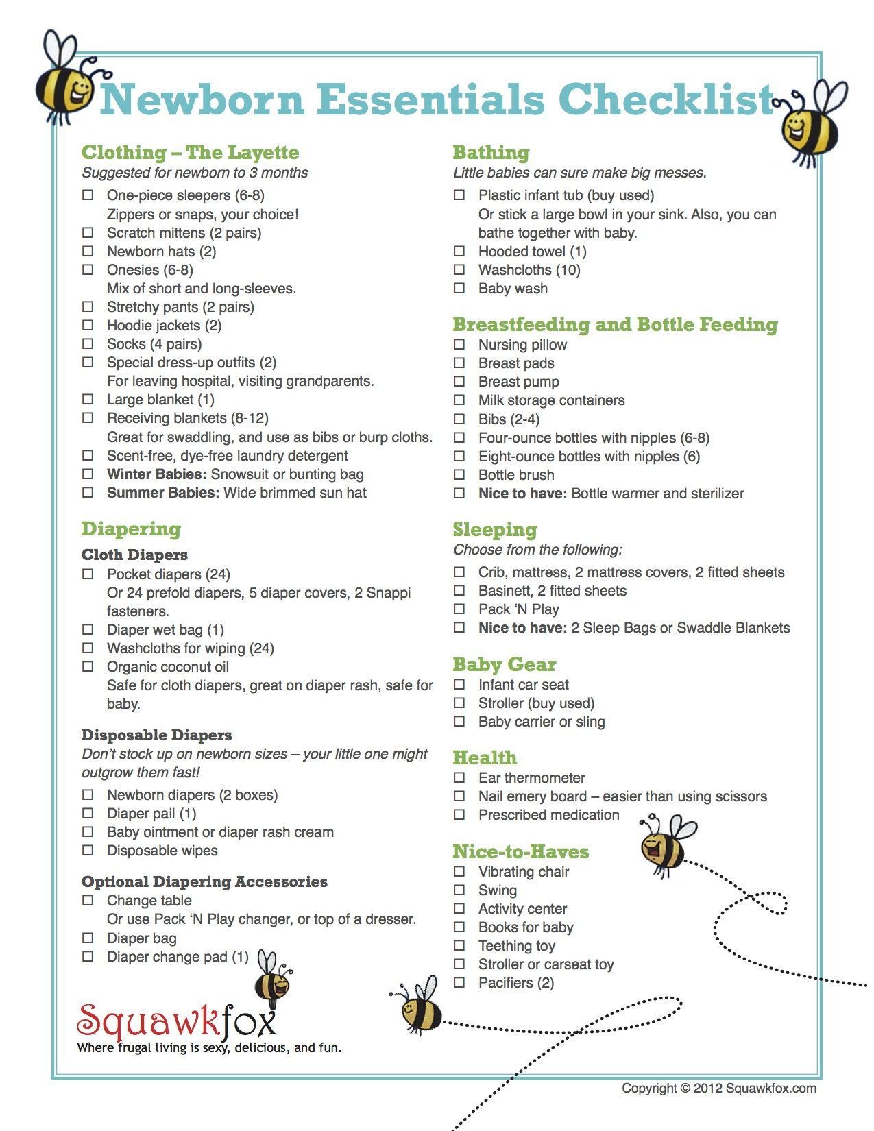Newborn Checklist HttpWwwSquawkfoxComNewborn