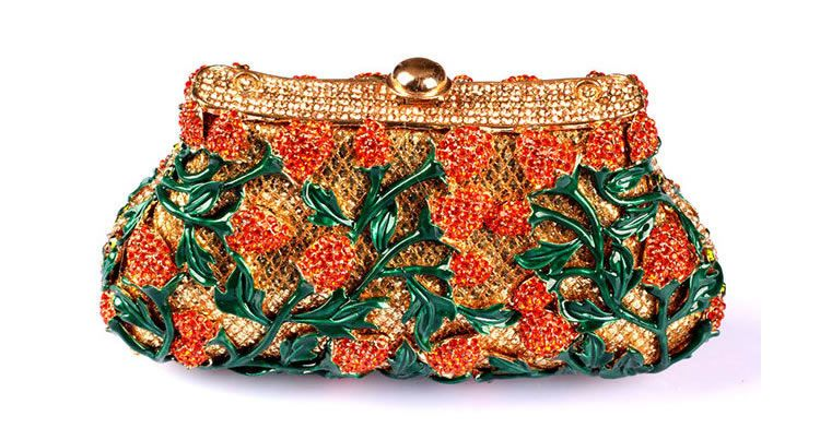 cfdedc0da9 house renovation Handmade Handbags Outlet Sale Funky Wedding Clutch Bags  with Green Flower Pattern Crystal Clutch