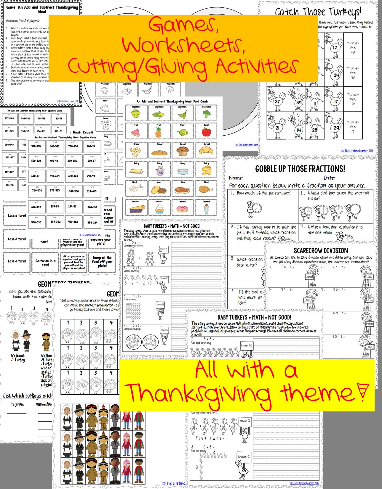 3rd Grade Thanksgiving Math