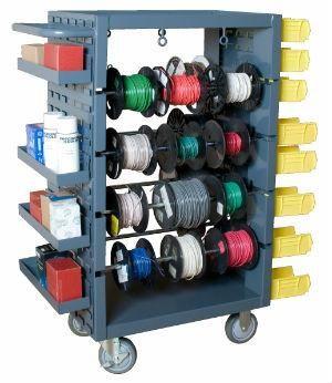 Wire Spool Holder Hand Caddy 8-Reel Storage Rack Electrical Organizer 12 14 AWG
