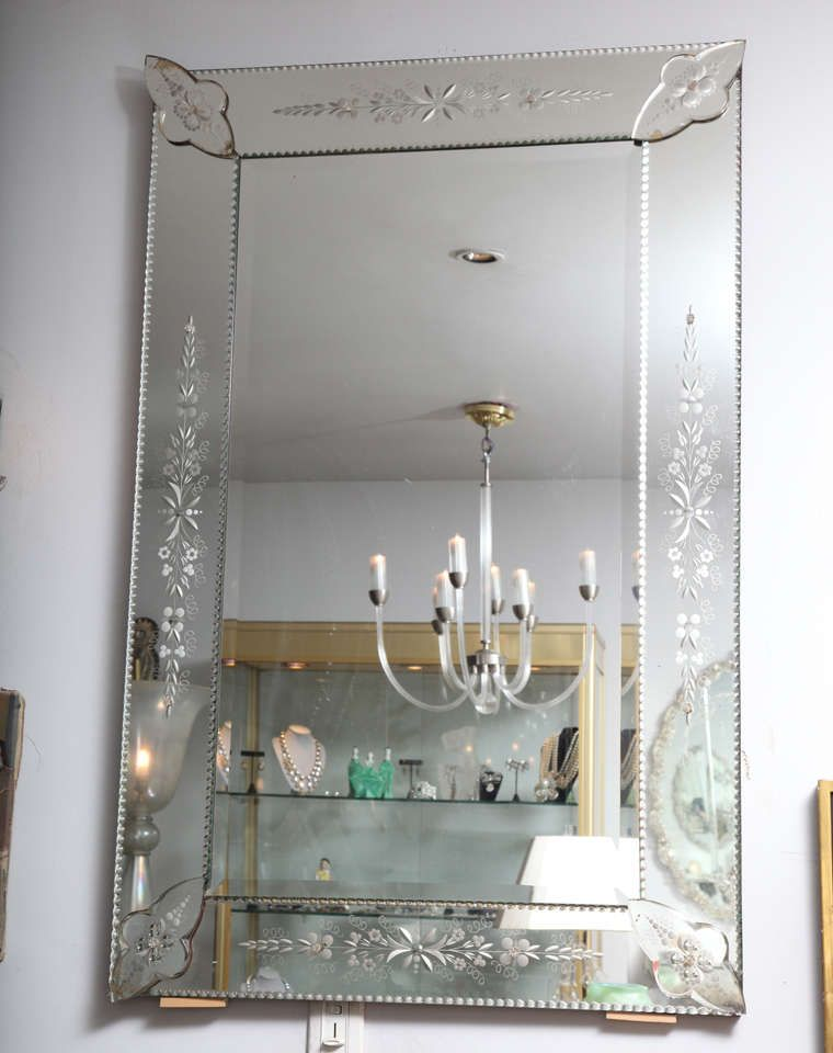french etched and beveled mirror home furniture