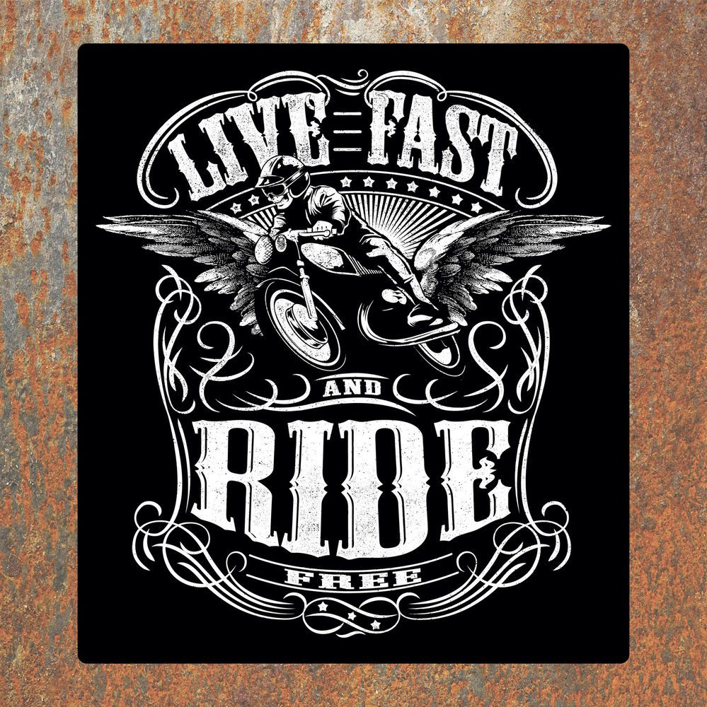 Live fast biker laminated sticker motorbike motorcycle rockers rockabilly decal