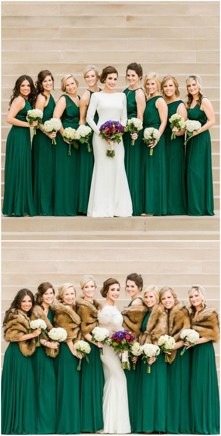 Emerald green gowns bridesmaids modern wedding dress