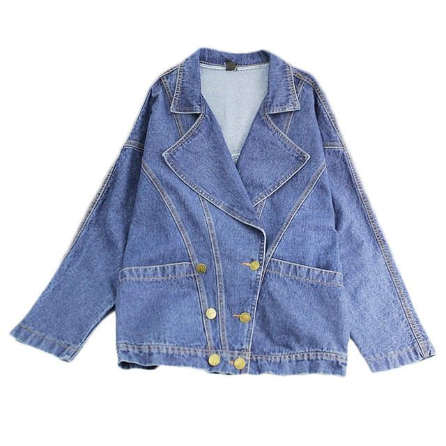 Loose Casual Cotton Denim Jean Jackets Women Basic Outerwear Fashion Girls Solid Coat Spring Autumn