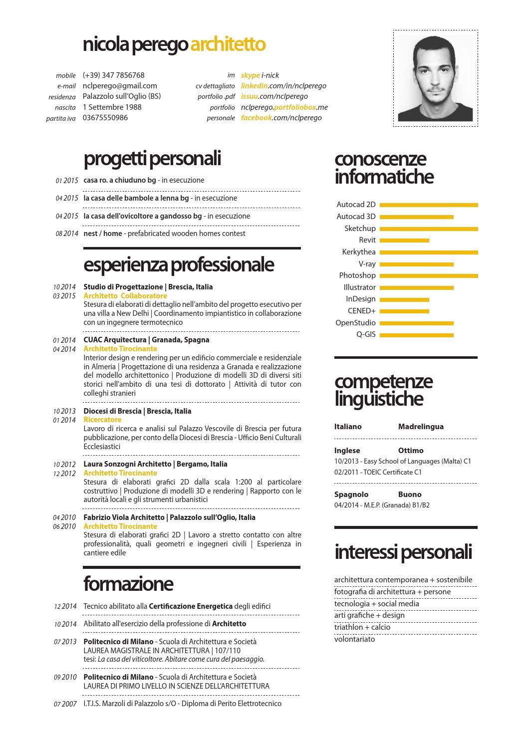 nicola perego architetto | Curriculum, Creative cv and Cv ideas