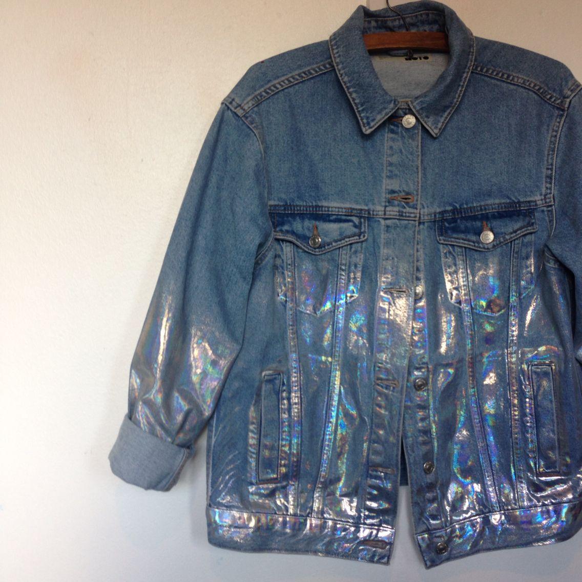 4afbbb5c9e8b4 Topshop holographic denim jacket