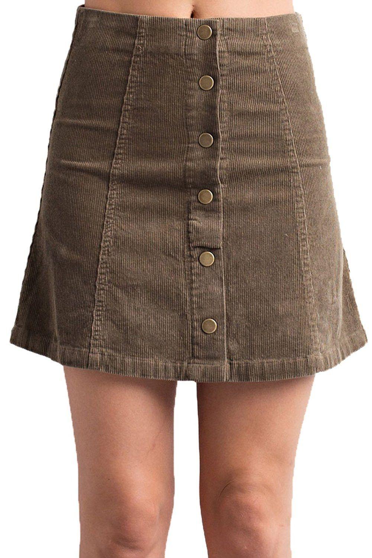 Violet & Virtue Women's Corduroy Button Up Skirt
