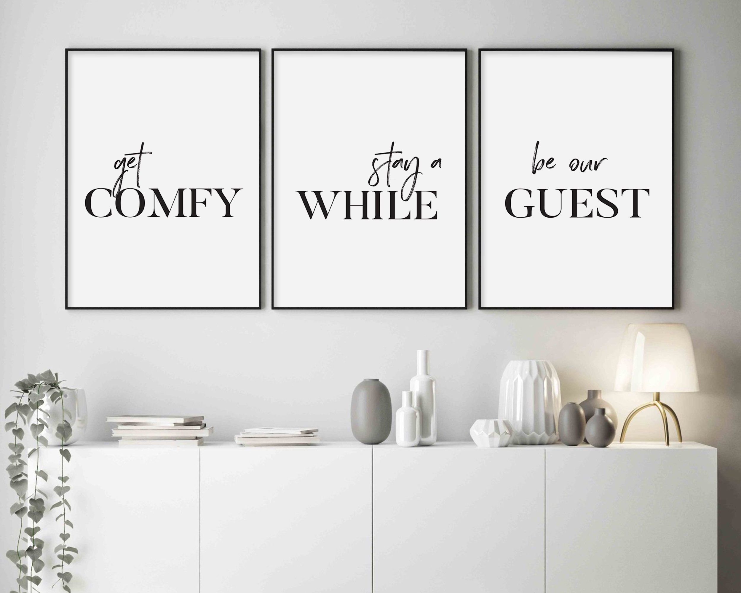 Get Comfy Stay A While Be Our Guest Printable Wall Art Etsy Guest Room Sign Guest Room Decor Guest Room Office