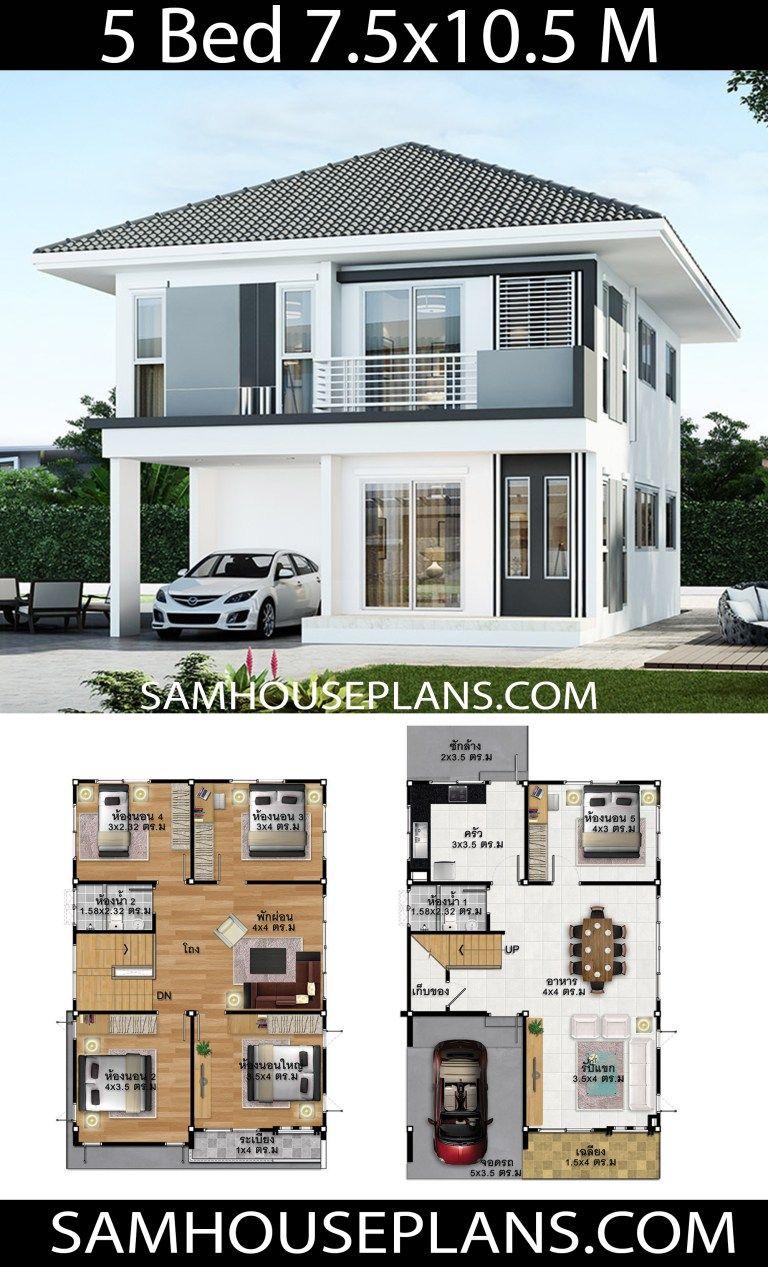 House Plans Idea 7 5x10 5 With 5 Bedrooms Sam House Plans Model House Plan 2 Storey House Design Dream House Plans