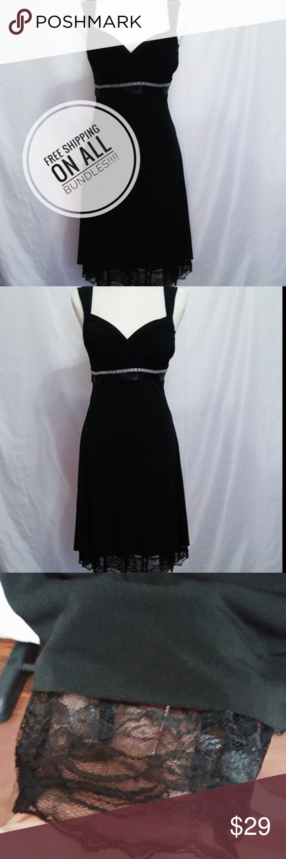 My michelle sexy black lace dress with rhinestones black laces