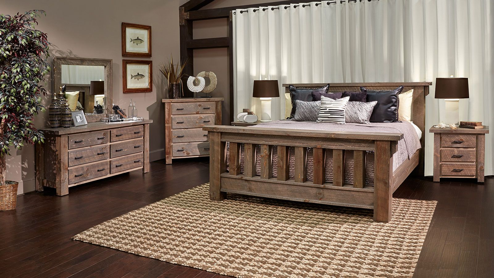 Rustic Dark Pine Bedroom Collection | For the Home | Pine ...